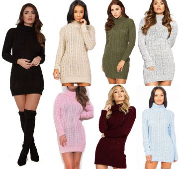 Ladies Cable Knit Polo Roll Neck Long Sleeve Jumper